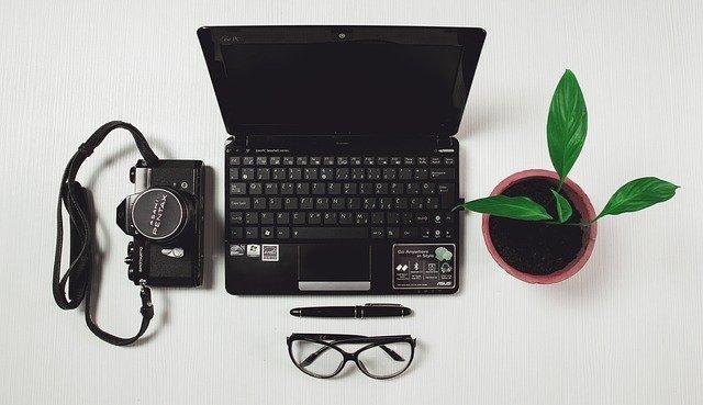 Notebook, fotoaparát a zelená rastlina v kvetináči na stole