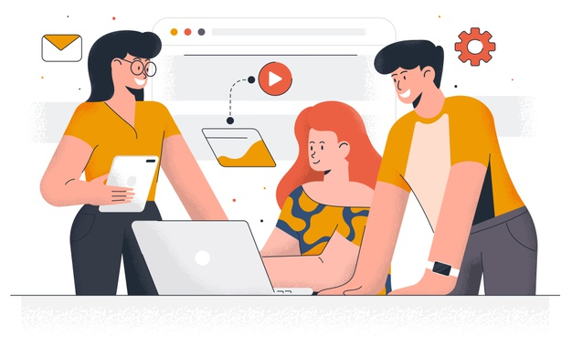 modern-digital-marketing-young-man-woman-working-together-project-office-work-time-management-easy-edit-customize-illustration_145666-981